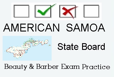 AMERICAN SAMOA exam practice for state board in cosmetology, barber, esthetics, and manicuring tests