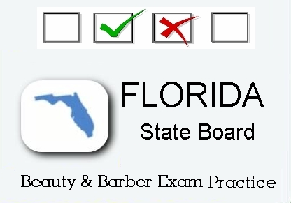 Florida exam practice for state board in cosmetology, barber, natural hair and braiding, facials and manicuring tests