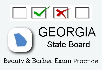 Georgia exam practice for state board in cosmetology, barber, natural hair styling, esthetics and manicuring tests