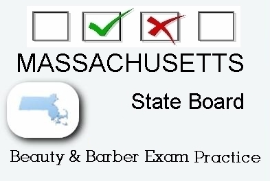 MASSACHUSETTS exam practice for state board in cosmetology, barber, esthetics and manicurist tests