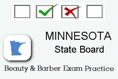 MINNESOTA exam practice for state board in cosmetology, barber, esthetics and manicurist tests