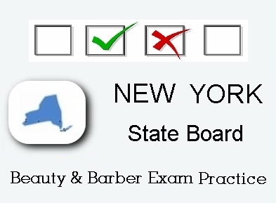 New York exam practice for state board in cosmetology, barber, natural hair styling, esthetics and manicuring tests