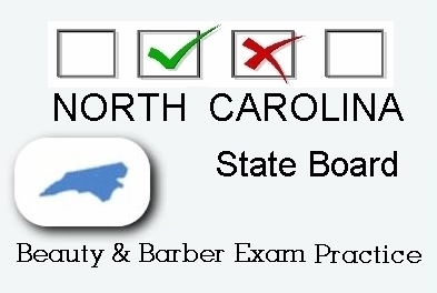NORTH CAROLINA exam practice for state board in cosmetology, barber, esthetics, natural hair and braiding, and manicuring tests