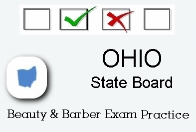 OHIO exam practice for state board in cosmetology, barber, esthetics, natural hair and braiding, and manicuring tests