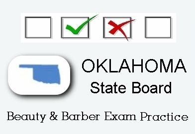 Oklahoma exam practice for state board in cosmetology, barber, natural hair styling, esthetics and manicuring tests